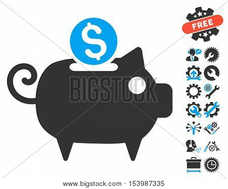 Piggy Bank icon with bonus tools design elements. Glyph illustration style is flat iconic bicolor symbols blue and gray colors white background.