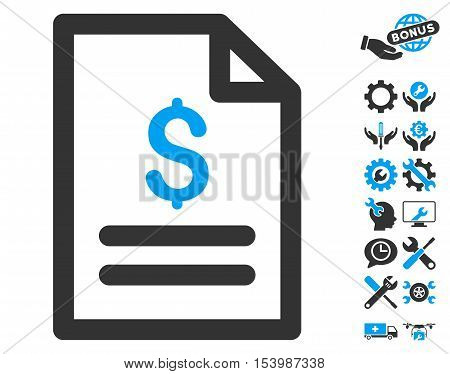 Price List icon with bonus tools clip art. Glyph illustration style is flat iconic bicolor symbols blue and gray colors white background.