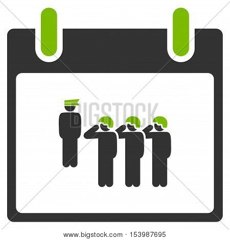 Army Squad Calendar Day glyph icon. Style is flat graphic bicolor symbol eco green and gray colors white background.