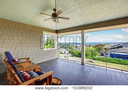 Spacious Covered Walkout Deck With Outdoor Seats
