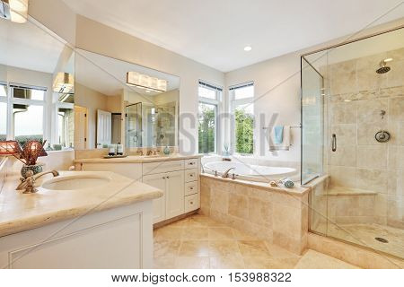 Master Bathroom Interior With Beige Tile Floor