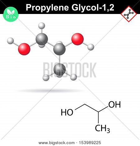 Propylene glycol 12 organic chemical agent 2d and 3d vector illustration isolated on white background eps 8