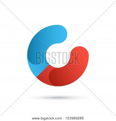 C letter logo template magnet icon with north and south poles 2d vector illustration isolated on white background eps 10