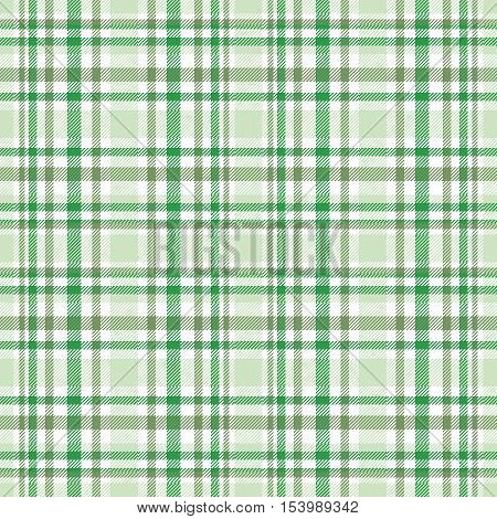 Seamless tartan plaid pattern. Green, olive green & white twill stripes on pale green background. Asymmetric tartan texture.