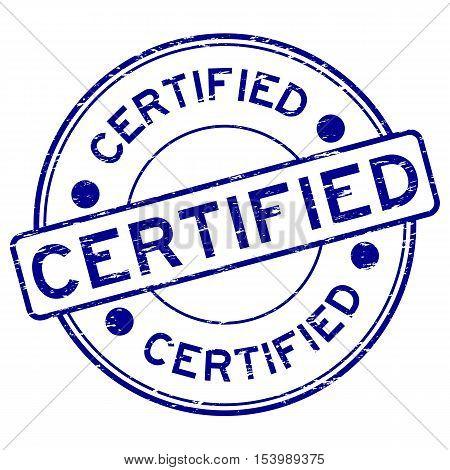 Grunge blue round certified round rubber stamp