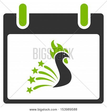 Festive Rooster Calendar Day glyph icon. Style is flat graphic bicolor symbol, eco green and gray colors, white background.