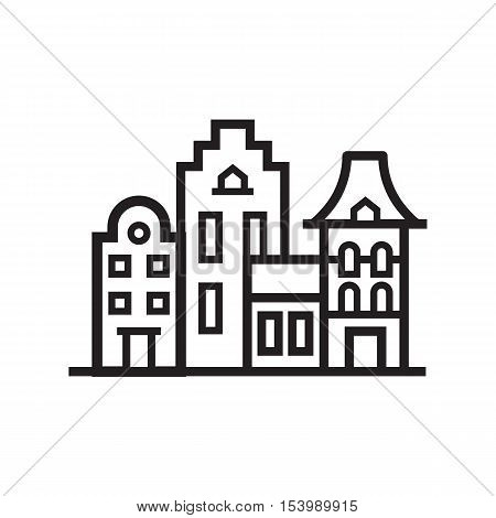 Europe street and house emblem. Amsterdam or scandinavian townhouse emblem. Historic town houses logo. Downtown street outline design.