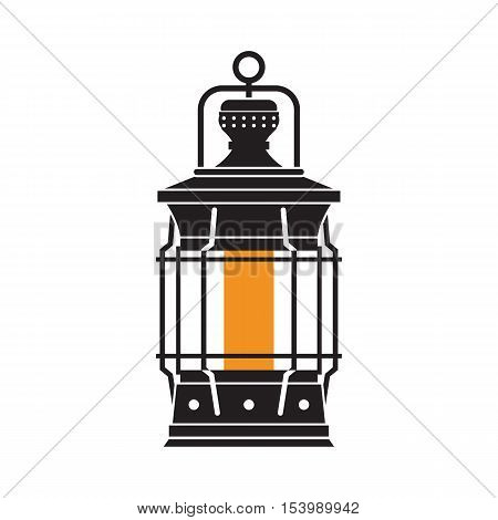 Vintage camping lantern silhouette isolated on white background. Retro gas lamp with glowing fire wick. Rustic tourist oil lantern outline vector illustration. Old lamp for hiking.
