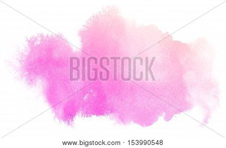 Abstract pink watercolor on white background.This is watercolor splash.It is drawn by hand.