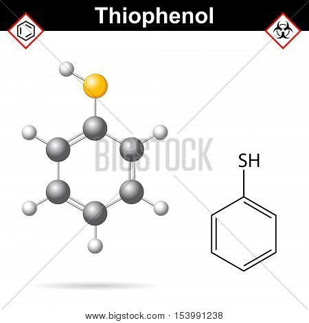 Benzenethiol organic and aromatic chemical compound 2d and 3d vector illustration isolated on white background eps 10
