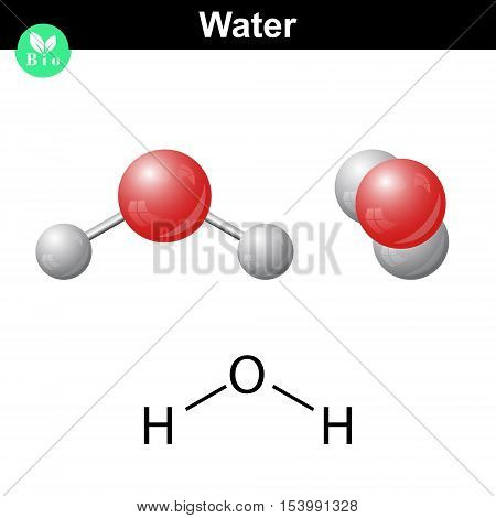 Water natural inorganic compound 2d and 3d vector illustration of water molecular structure isolated on white background eps 10