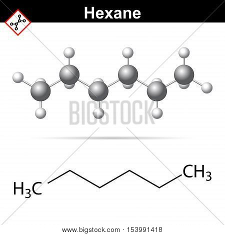 Hexane aliphatic hydrocarbon alkane organic class 2d and 3d vector illustration of molecular structure isolated on white background eps 10