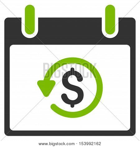 Refund Calendar Day glyph pictograph. Style is flat graphic bicolor symbol, eco green and gray colors, white background.