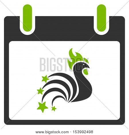 Rooster Fireworks Calendar Day glyph pictogram. Style is flat graphic bicolor symbol, eco green and gray colors, white background.