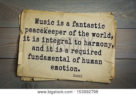 Top 25 quotes by Xun Zi, a Chinese thinker Confucian tradition.  Music is a fantastic peacekeeper of the world, it is integral to harmony, and it is a required fundamental of human emotion.