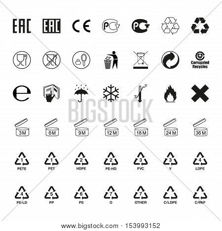 Packaging symbols set. Icons on packaging. Vector
