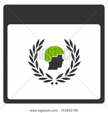 Soldier Laurel Wreath Calendar Page glyph icon. Style is flat graphic bicolor symbol, eco green and gray colors, white background.