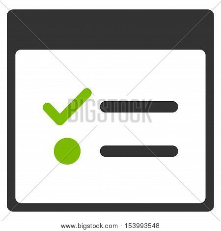 Todo Items Calendar Page glyph pictogram. Style is flat graphic bicolor symbol, eco green and gray colors, white background.