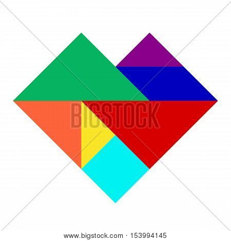 Colorful tangram puzzle in heart shape on white background