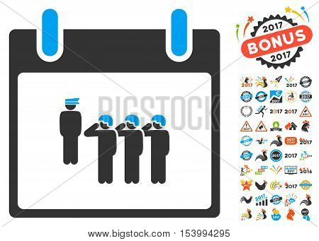 Army Squad Calendar Day icon with bonus calendar and time management symbols. Glyph illustration style is flat iconic symbols, blue and gray colors, white background.