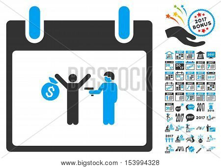 Arrest Calendar Day icon with bonus calendar and time management graphic icons. Glyph illustration style is flat iconic symbols, blue and gray colors, white background.