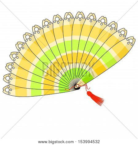 Japanese Fan Of With Colored Stripes. Vector Illustration