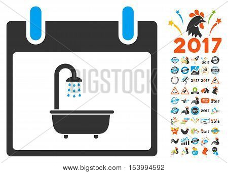 Bath Calendar Day icon with bonus calendar and time management icon set. Glyph illustration style is flat iconic symbols, blue and gray colors, white background.