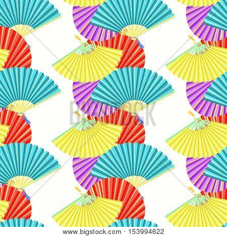 Japanese Fan Seamless Pattern Color Bars. Vector Illustration