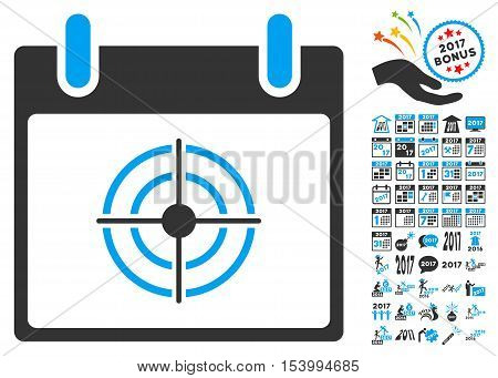 Bullseye Calendar Day icon with bonus calendar and time management design elements. Glyph illustration style is flat iconic symbols, blue and gray colors, white background.