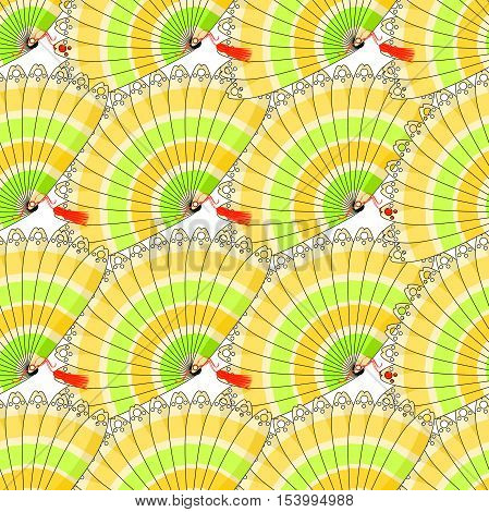 Japanese Fan Seamless Pattern With Colored Stripes Close. Vector Illustration