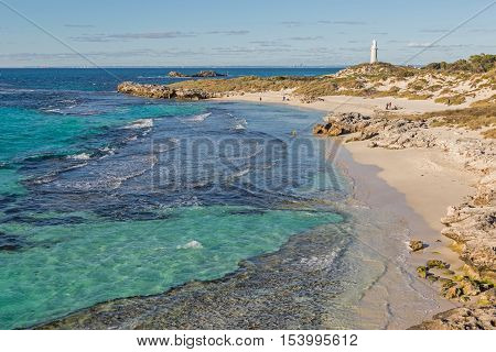 The Basin, Pinky Beach and Bathurst Lighthouse at Rottnest Island near Perth in Western Australia.