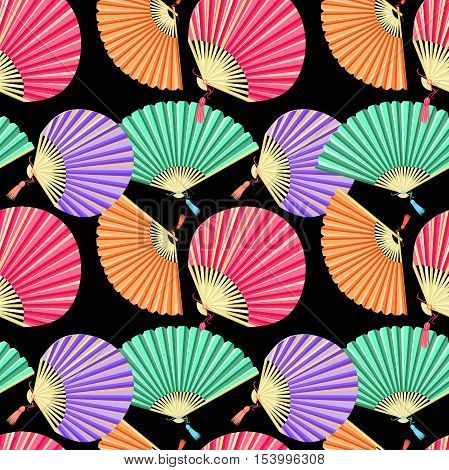 Seamless Pattern Colorful Japanese Fan Of On A Black Background. Vector Illustration