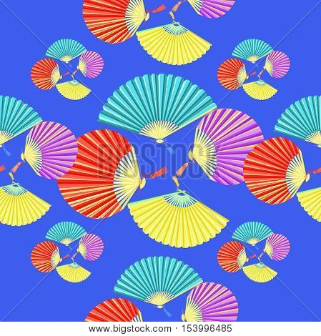 Seamless Pattern Colorful Japanese Fan On A Blue Background. Vector Illustration