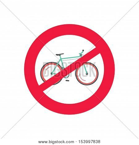 No bicycle vector road sign vector illustration isolated on white background, no bike allowed sign, restricted sign for cyclists, no cycling