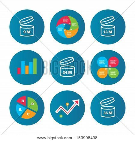Business pie chart. Growth curve. Presentation buttons. After opening use icons. Expiration date 9-36 months of product signs symbols. Shelf life of grocery item. Data analysis. Vector