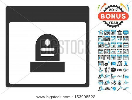 Memorial Tombstone Calendar Page icon with bonus calendar and time management images. Glyph illustration style is flat iconic symbols, blue and gray colors, white background.