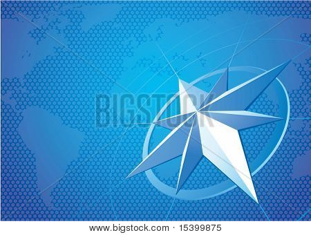 Blue compass. Vector background. poster