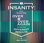 Typographical Background Illustration with insanity quote of Albert EINSTEIN poster