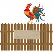 A fence made of wood. Notice boards and advertising. Rooster on the fence. Symbol Rooster 2017. Vector illustration poster
