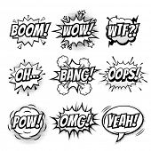Vector comic speech bubble with phrase Boom, Wow, WTF, Oh, Bang, Oops, Pow, OMG, Yeah. Black and white comic cartoon sound bubble speech set poster