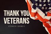 Veterans day background with text and USA flag poster