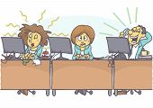 Funny cartoon of woman with bad coworkers at office, one is sloppy and untidy, stinking, and other is loud. Vector cartoon of bad coworker situation at work. Bad behavior at work. poster