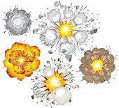 Collection of various vector explosions-detonation of bomb,fuel,dynamite,gas,eruption poster