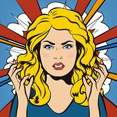 Angry Woman. Young furious Girl. Negative Emotions. Bad Days. Bad Mood. Stressful Woman. Comic Background. Pop Art Banner. Vector cartoon illustration. poster