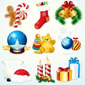 Christmas Set - detailed vector clip art include: Gifts, Sock, Sweets, Snowglobe,  Bells, Santa symbols and other decorations - design elements poster