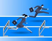 Gender inequality on career path business concept Business lady runs against businessman on career path but fails because on her side of path there are a lot of obstacles. Gender differences. poster