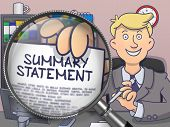 Summary Statement. Officeman Holding a Paper with Inscription through Lens. Multicolor Doodle Illustration. poster