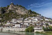 traditional balkan houses in historic old town of berat albania poster