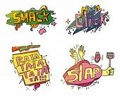 Set of comix cartoon exclamations. Smack for crushing or smashing fruit with foot, cloud click for fingers on mouse, weapon rifle or machine gun rata ta for shooting, slap for clap hands or swatter poster