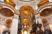 Interior of the St paul's cathedral London UK. poster